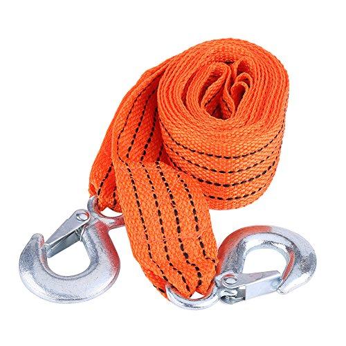 SANON Remolque de Coche Cuerda de Remolque Correa Cable de Remolque con Ganchos Herramienta para Vehículos de Emergencia Carga de 4 Metros 3 Toneladas
