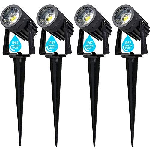 Profi 3 W Gartenlampen 4er Set Strom, Gartenlampe Erdspieß Metall (kein Plastik), LED Gartenleuchten warmweiß (2800K) Gartenleuchte IP 67 * LED mini Spot LED Strahler schwenkbar außen, Aussenstrahler