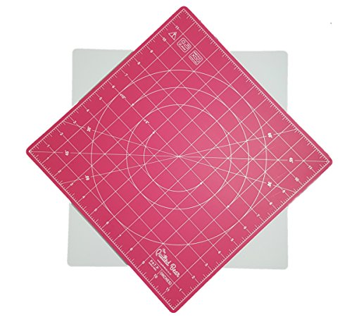 Quilted Bear 360° Rotating Self Healing Cutting Mat 12  x 12  Similar to OLFA (inches) in Pink
