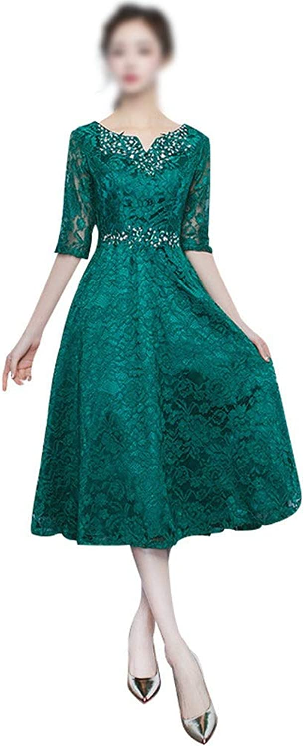 ProBikeUS Women's Fashion Half Sleeves Round Neck Beads Lace Evening Bridesmaid Dress (color   Green, Size   M)