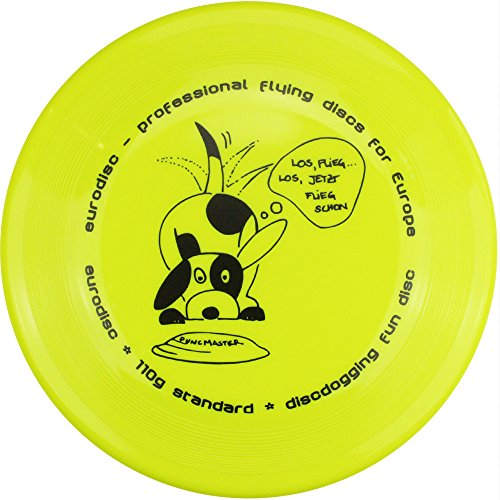 Eurodisc 110g Anerkannte Discdogging Scheibe für Hunde Frisbee, Neongelb