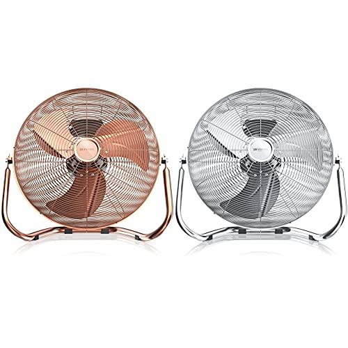 Brandson - Windmaschine Retro Stil - Ventilator in Kupfer - Standventilator 30cm - Tischventilator Bodenventilator & Windmaschine Retro Stil - Ventilator in Chrom - Standventilator 30cm - Silber
