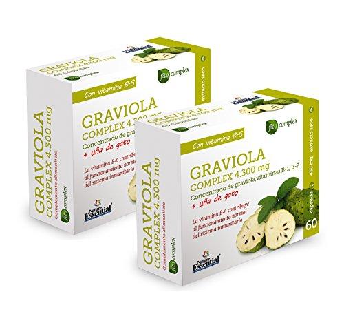 Nature Essential Graviola Complex 4300 mg - Con graviola, uña de gato, vitamina B-1, vitamina B-2 y vitamina B-6 - 60 Capsulas, Pack 2 unididades