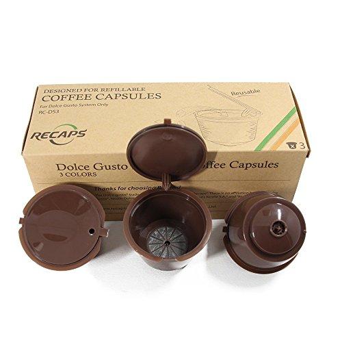 RECAPS Ricetta Dolce Gusto Coffee Capsule Reusable Più Than 100 volte per Nescafe Dolce Gusto Brewers 3 Pezzi| Compatibile con Mini Me, Genio, Piccolo, Esperta e Circolo (Marrone)