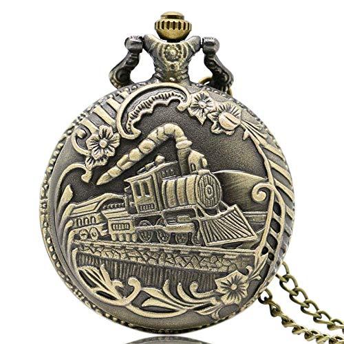 HLJ Kinder-Armbanduhr mit Cartoon-Motiv, modisch, präzise, bronzefarbene Train geschnitzt, Steampunk-Quarz-Taschenuhr für Männer und Frauen.
