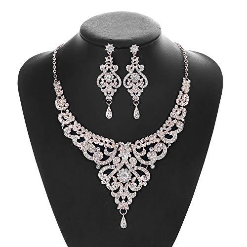 B&H-ERX Rose Goud Kleur Bruidssieraden Sets Cz Oostenrijkse kristallen ketting Oorbel Sets Sieraden Geschenken Femme Fit met Bruidsjurk