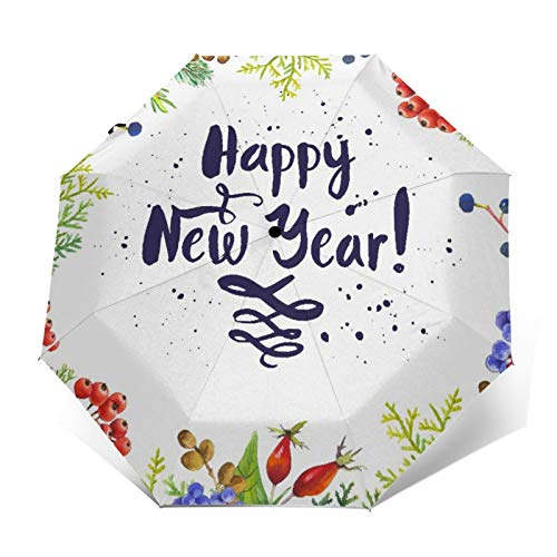SUHETI Paraguas automático de Apertura/Cierre,Año Nuevo, Rowan Cones Wild Grapes Y Arborvitae Ramas Composición con Cita De Feliz Año,Paraguas pequeño Plegable a Prueba de Viento