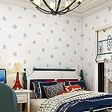 ACCEY Papel pintado de la habitación infantil de dibujos animados de estilo mediterráneo no tejido timón marinero cielo azul dormitorio mar vela fondo de pantalla @ A542