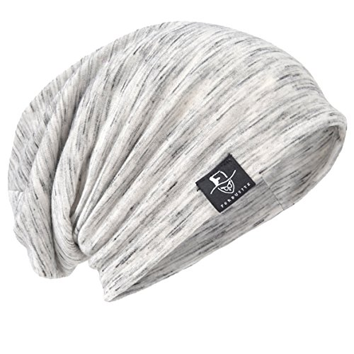 JESSE · RENA Men's Chic Striped Thin Baggy Slouch Summer Beanie Skull Cap Hat (Pale)