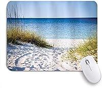 MISCERY マウスパッド ビーチへの道澄んだ空茂み草風の強い晴れた日平和なメキシコ湾の写真 高級感 おしゃれ 防水 端ステッチ 耐久性が良い 滑らかな表面 滑り止めゴム底 24cmx20cm