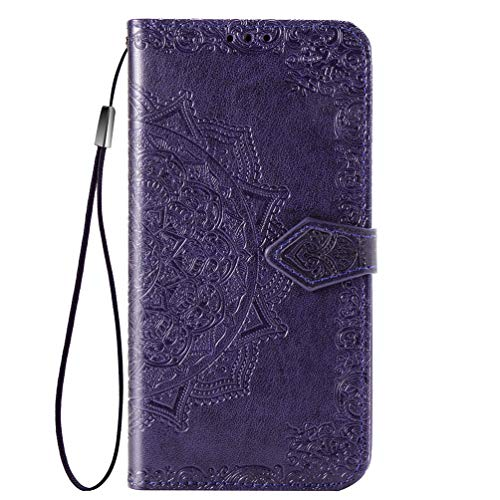 Oppo A53/A33/A33S Case, Shockproof PU Leather Flip Cover Mandala Notebook Wallet Case With Magnetic Closure Stand Card Holder ID Slot Folio Soft TPU Bumper Protective for Oppo A53/A33/A33S purple