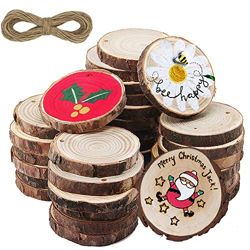 ATDAWN Natural Wood Slices with Holes, 30 Pcs Unfinished Wooden Circles, Craft Wood kit, Christmas Ornaments DIY Crafts (2.4'-2.8')