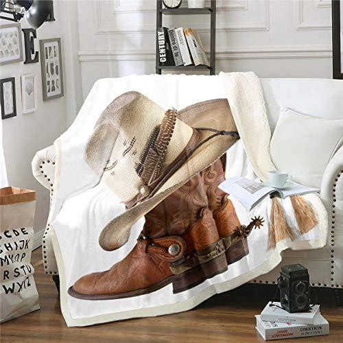 Homemissing Manta de felpa con forro polar para niños y niñas, estilo rodio occidental, manta de sherpa, decoración vintage, para sofá cama, individual de 50 x 60 pulgadas