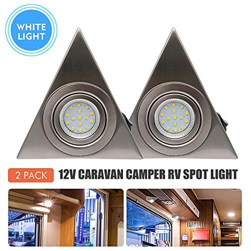 Maso - LED triangulaire en acier inoxydable avec interrupteur marche/arrêt - 12 V - pour caravane, camping-car, bateau, bus, etc.