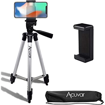 """Acuvar 50"""" Inch Aluminum Camera Tripod with Quick Release + Universal Smartphone Mount for iPhone 12, iPhone 12 Mini, iPhone 12 PRO Max, iPhone 11 Pro, 11 Pro Max, Xs, SE 2, Xr, X, 8, 8+ and Android"""