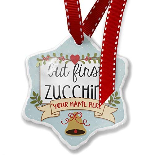 But First Zucchini Christmas Ornaments Ceramic 2019 Keepsak Ornament for Kids Women Christmas Home Decor