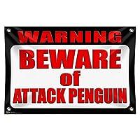 """警告攻撃の用心ペンギン 33"""""""" (84cm) x 22"""""""" (56cm) ミニビニール旗バナー壁符号"""