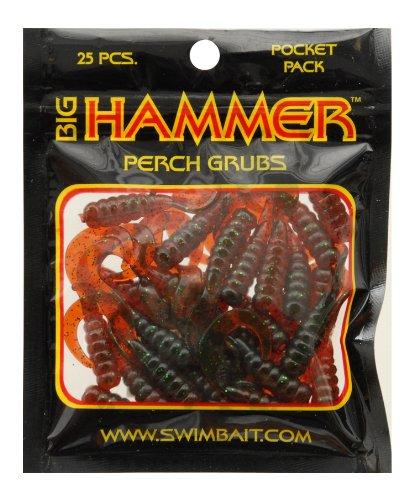 Big Hammer Perch Grub Bait, Motor Oil Green, 1-3/4-Inch
