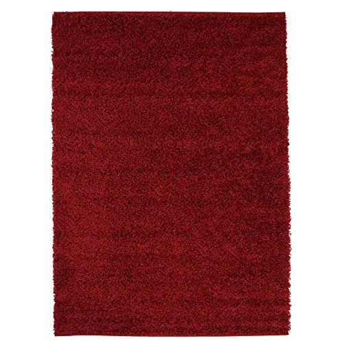 carpet city Hochflor Shaggy Teppich Langflor Teppiche Einfarbig Uni Rot für Wohnzimmer Schlafzimmer 3 cm Florhöhe, Größe 230x320 cm
