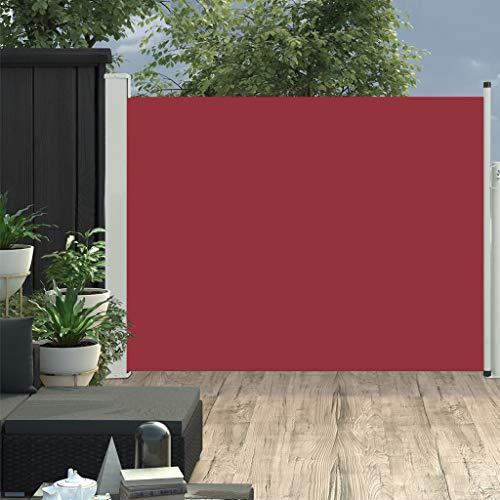 vidaXL Seitenmarkise Ausziehbar Sonnenschutz Sichtschutz Windschutz Seitenrollo Markise Seitenwandmarkise Balkon Garten Terrasse 170x500cm Rot