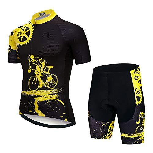 Conjunto de Jersey de Ciclismo comprimido para Hombres, Ciclo de Manga Corta Transpirable de Secado rápido Ropa de Bicicleta Tops Camisa de Jersey de Bicicleta Transpirable Transpirable Todoterreno