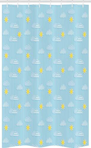 ABAKUHAUS Hellblau Schmaler Duschvorhang, Süße Wolken & Sonne, Badezimmer Deko Set aus Stoff mit Haken, 120 x 180 cm, Hellblau Gelb