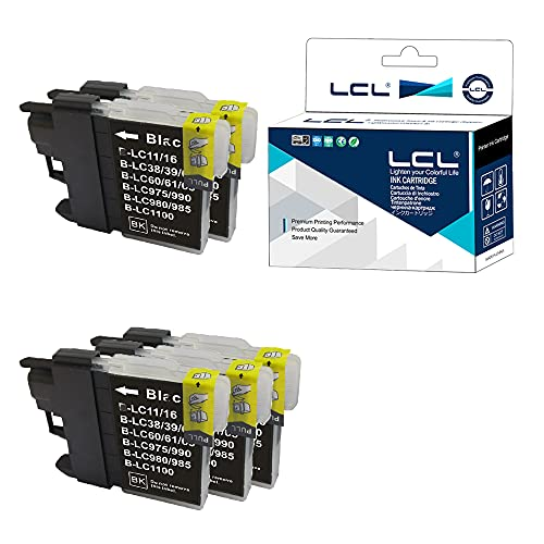 LCL Cartucho de Tinta Compatible LC985 LC985BK (5 Negro) Reemplazo para Brother DCP-J125 J315W J515W J140W MFC-J265W J410 J415W J220