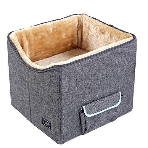 Petsfit Hunde Autositz für 2 kleine Hunde oder mittlere Hunde, Hochwertiger Hundesitz Auto für Rücksitz mit Sicherheitsgurt, faltbar Hundeautositz Gewichtskapazität bis zu 45 kg