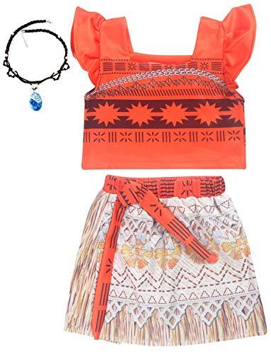 O.AMBW Disfraz de Moana Rojo Cosplay Princesa Vaiana Vestido Hawaiano Conjunto de 2 Piezas Top + Falda Disfraz con Accesorio Moana Collar Carnaval nias de 2 a 7 aos