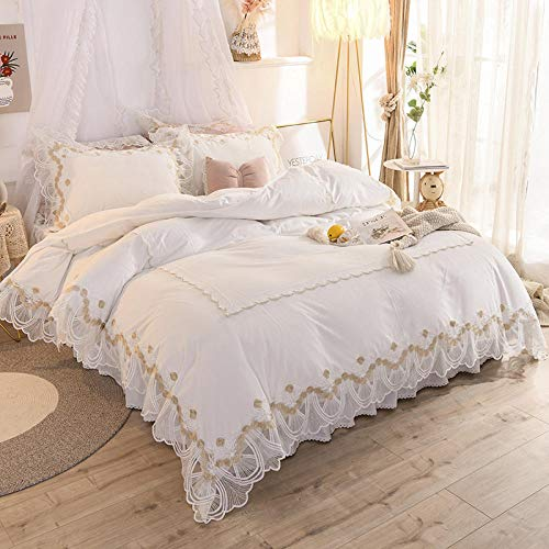 RESUXI teddy fleece bedding pink,Winter thick double-sided princess style girl heart coral velvet four-piece bed skirt quilt cover-Y_Four 1.8m beds
