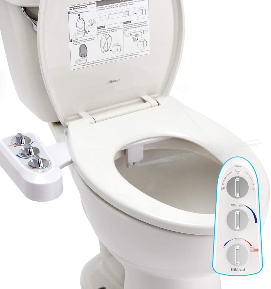 Hibbent WC Bidet, Water Bidet Dusch-WC (ohne Strom),Intimreinigung mit  Selbstreinigende Düsen Wasserstrahl regulierbar Po Dusche und Lady-Dusche :  Amazon.de: Baumarkt