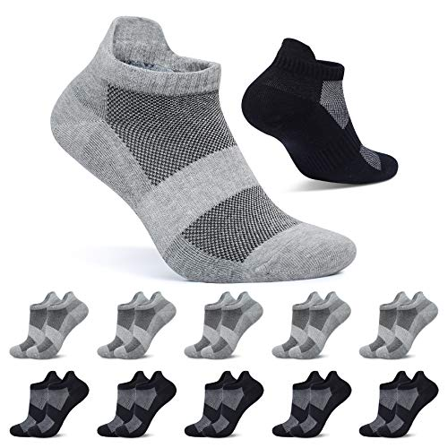 FALARY Kurze Socken Herren 39-42 Schwarz Grau Sportsocken 10 Paar Sneaker Socken Damen Baumwolle Atmungsaktive Laufsocken Unisex