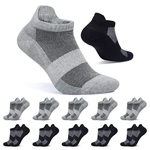FALARY Calcetin Hombre Tobilleros Negro Gris 47-50 Calcetines Mujer Cortos 10 Pares Algodon Deportivos Transpirables