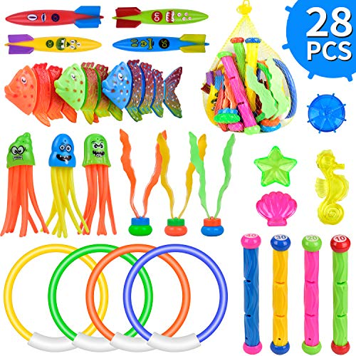 balnore Diving Toys, 28 Pcs Underwater Swimming Pool Toys Water Game for Kids Ages 3+