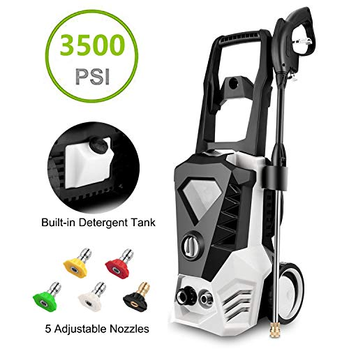 Electric Pressure Washer 3500PSI 2.6GPM High Pressure Washer 1800W Cleaner Machine with Power Hose Gun & 5 Interchangeable Nozzles (Silver)