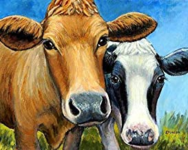 Cows, Two Cows, Holstein and Jersey, Cow Art Print, Red Jersey Cow and Black and White Holstein Cow, dairy cows, Print of Original Painting by Dottie Dracos