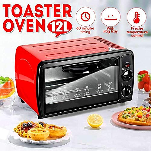 Wghz Haushalts-Mini-Ofen, Mini-Ofen mit elektrischem Grill und Kochplatten, Mini-Ofen mit Grill und Rotisserie, 60 Minuten Timing, Ober- und Unterrohrheizung, Wärmeableitungsdesign, Rot, Rot
