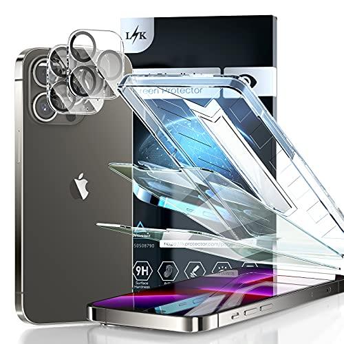 LϟK 4 Pack Protector de Pantalla Compatible con iPhone 13 Pro 6.1 Pulgada con 2 Pack Cristal Templado y 2 Pack Protector de Lente de Cámara - Anti Luz Azul HD Sin Burbujas Dureza 9H Antiarañazos