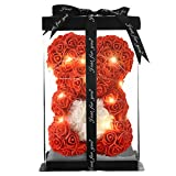 Rose Flower Bear- Rose Bear-Gifts for Girls, Women,mom,Girlfriends,Rose Teddy Bear-10 Gift Box (red, 10inch)