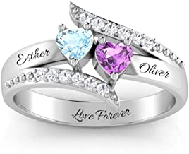 Wendy Made Personalized Promise Rings for Her Custom Couples Name Ring for Women Mother Rings with 2 Simulated Birthstones
