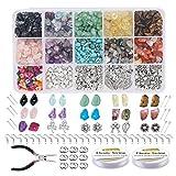 ORETG45 Kit di perline da appendere fai da te, chip, irregolari, colori, collane, pietra, braccialetto portatile per la casa, fabbricazione di gioielli artigianali e regalo in vetro misto