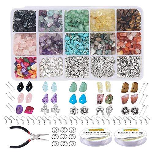 ORETG45 Kit Cuentas Colgantes DIY Chips Irregulares Colores Collares Piedra Pulsera portátil para el hogar Fabricación Joyas artesanales Regalo Vidrio Mixto