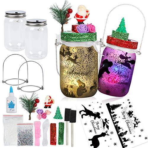 2 Pack Christmas Jar Lantern Craft Kit for Kids, Arts and Crafts DIY Musical Fairy Night Light Santa Elk Lamp Birthday Supplies Gift Xmas Christmas Stocking for Home Garden Decor