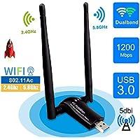 sumgott USB WiFi 1200Mpbs Antera Adaptador WiFi USB 3.0 Inalámbrico Dual Band Soporte de 5Ghz 867Mbps para PC con Windows XP/Vista / 7/8/10, MAX OSX (1200mbps)