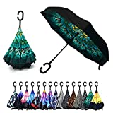 Peacock Double Layer Inverted Umbrellas - C Shaped Handle Reverse Folding Windproof Umbrella for Men and Women