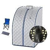 HZW Mobile Mini Infrarotsauna, Heimsauna tragbar zusammenklappbares Saunazelt Persönliches SPA-Zelt mit Fernbedienung zur Entspannung, Gewichtsabnahme, Entgiftung,Silber