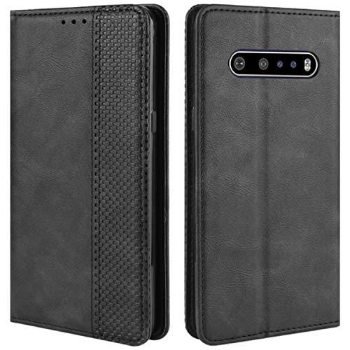 HualuBro Handyhülle für LG V60 ThinQ Hülle, Retro Leder Stoßfest Klapphülle Schutzhülle Handytasche LederHülle Flip Hülle Cover für LG V60 ThinQ 5G Tasche, Schwarz