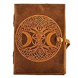 Diario de piel urbana con diseño de luna celta y árbol, hecho a mano, cuaderno de dibujo para manualidades, cuaderno de recortes, cuaderno de notas, diario sin forro