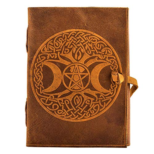 Urban Leather Book Celtic Moon & Tree Embossed Handmade Journal, Artist Craft Sketchbook Drawing Scrapbook Writing Notebook Notepad Daily Diary, Unlined, 5x7 inches