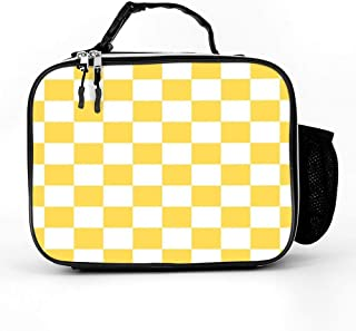 Lunch Bag Tote Reusable Insulated Waterproof School Picnic Carrying Gourmet Lunch Box Container Organizer For Men, Women, Adults, Kids, Girls, Boys - Mustard Yellow And White Checkerboard Pattern